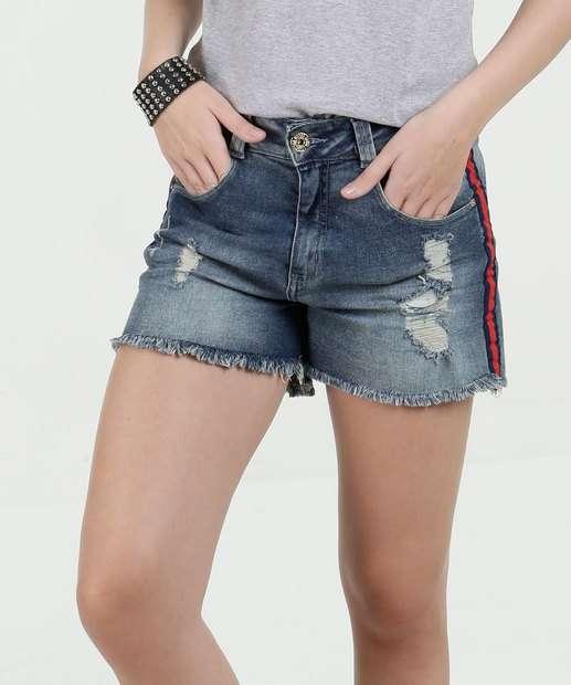 Image_Short Feminino Jeans Puídos Desfiado Biotipo