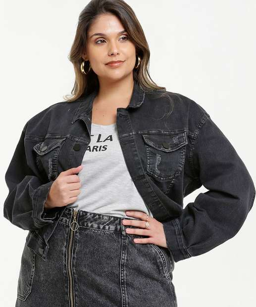 Image_Jaqueta Plus Size Feminina Jeans Destroyed Razon