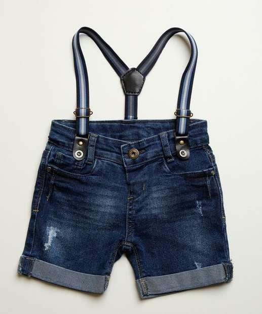 Image_ Bermuda Infantil Jeans Suspensório