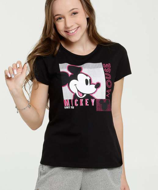 Image_Blusa Juvenil Estampa Mickey Glitter Manga Curta Disney