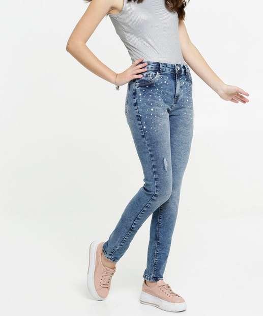 Image_Calça Juvenil Jeans Skinny Pérolas Marisa Tam 10 ao 16