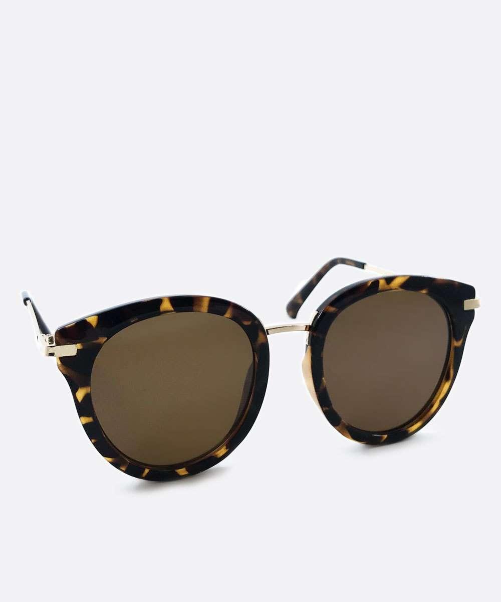 Óculos de Sol Feminino Redondo Estampa Tartaruga Marisa