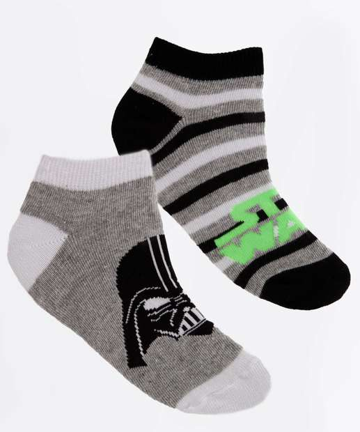 Image_Kit 2 Meias Infantil Neon Star Wars Disney