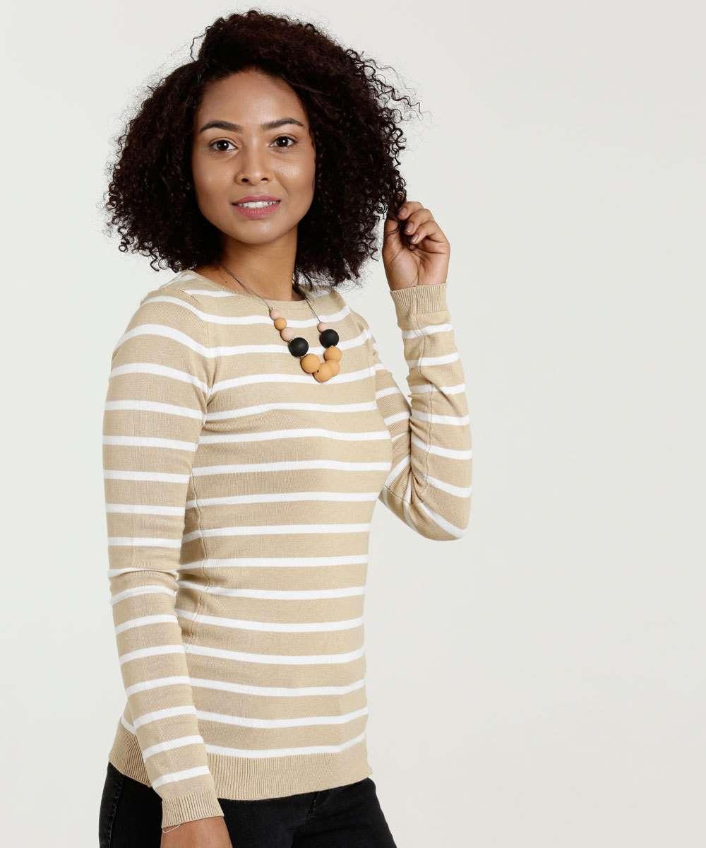 Suéter Feminino Listrado Marisa