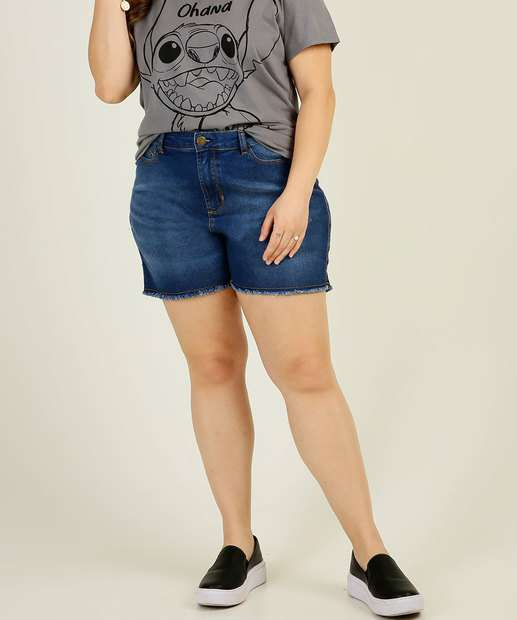 Image_Short Plus Size Feminino Jeans Barra Desfiada Marisa