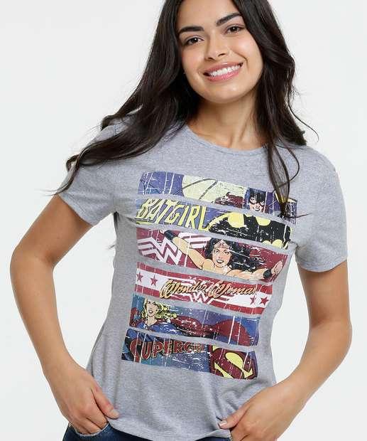 Image_Blusa Feminina Super Heroínas Manga Curta Liga da Justiça