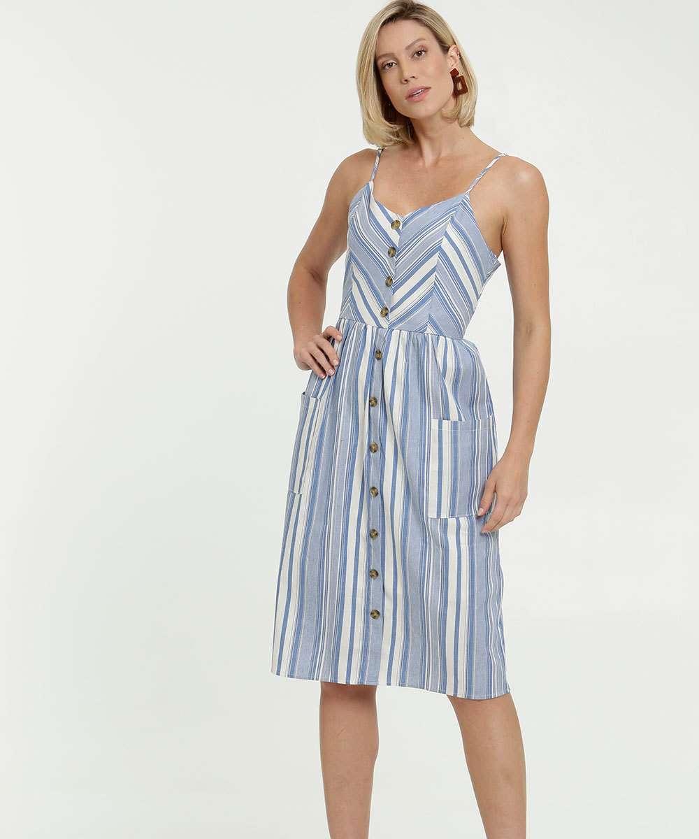 Vestido Feminino Midi Listrado Alças Finas Marisa