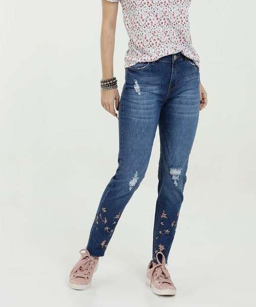 Image_Calça Feminina Jeans Skinny Destroyed Bordado Marisa