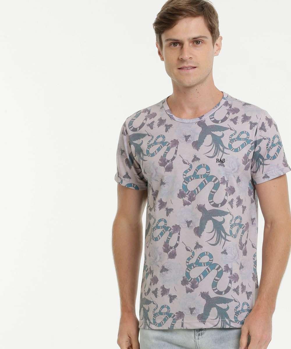 Camiseta Masculina Estampada Manga Curta Rock & Soda