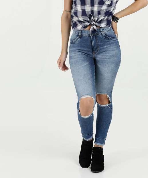 40ea0707b Calça Feminina Jeans Skinny Destroyed Biotipo
