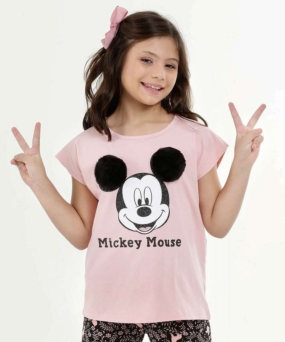 Blusa Infantil Estampa Frontal Mickey Manga Curta Disney