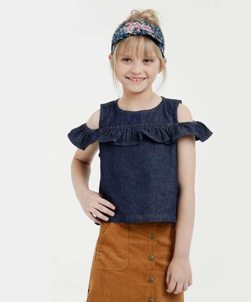 Image_Blusa Infantil Jeans Open Shoulder Manga Curta Marisa