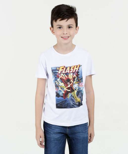 Image_Camiseta Infantil Estampa Flash Manga Curta Liga da Justiça