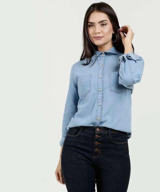 Image_Camisa Feminina Jeans Manga Longa Marisa