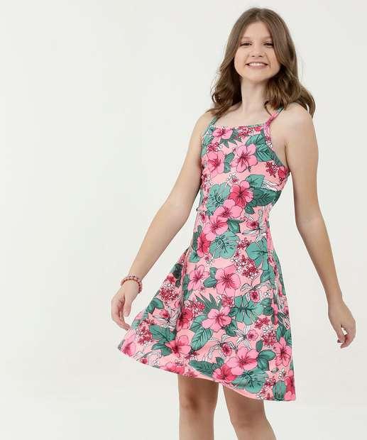769a854a3717 Vestido Juvenil Estampa Floral Alças Finas Marisa