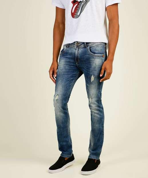 Image_Calça Masculina Skinny Puídos Zune Jeans