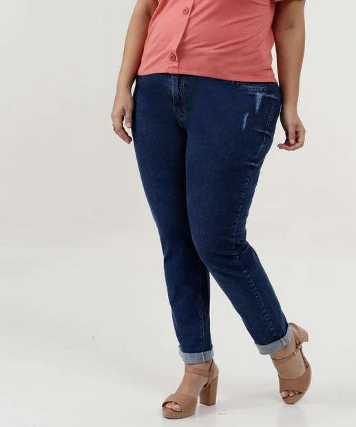 Image_Calça Feminina Jeans Cigarrete Puidos Plus Size Marisa