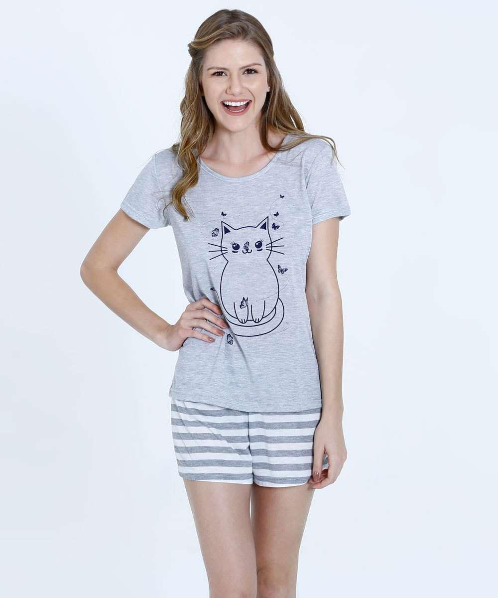 6917b416653dbc Pijama Feminino Estampa Gato Short Doll Marisa | Marisa