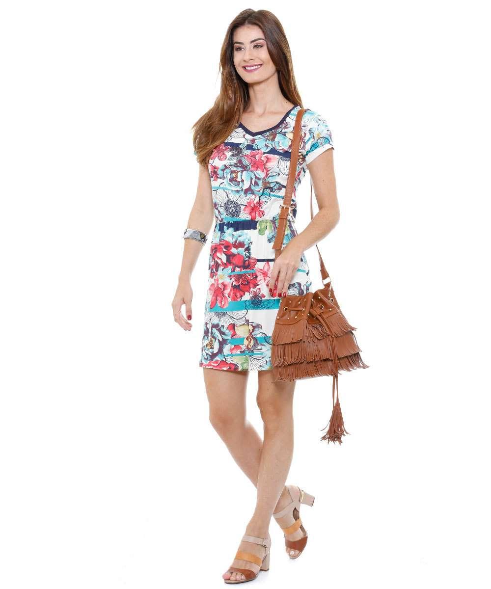 Vestido feminino estampa floral manga curta Marisa
