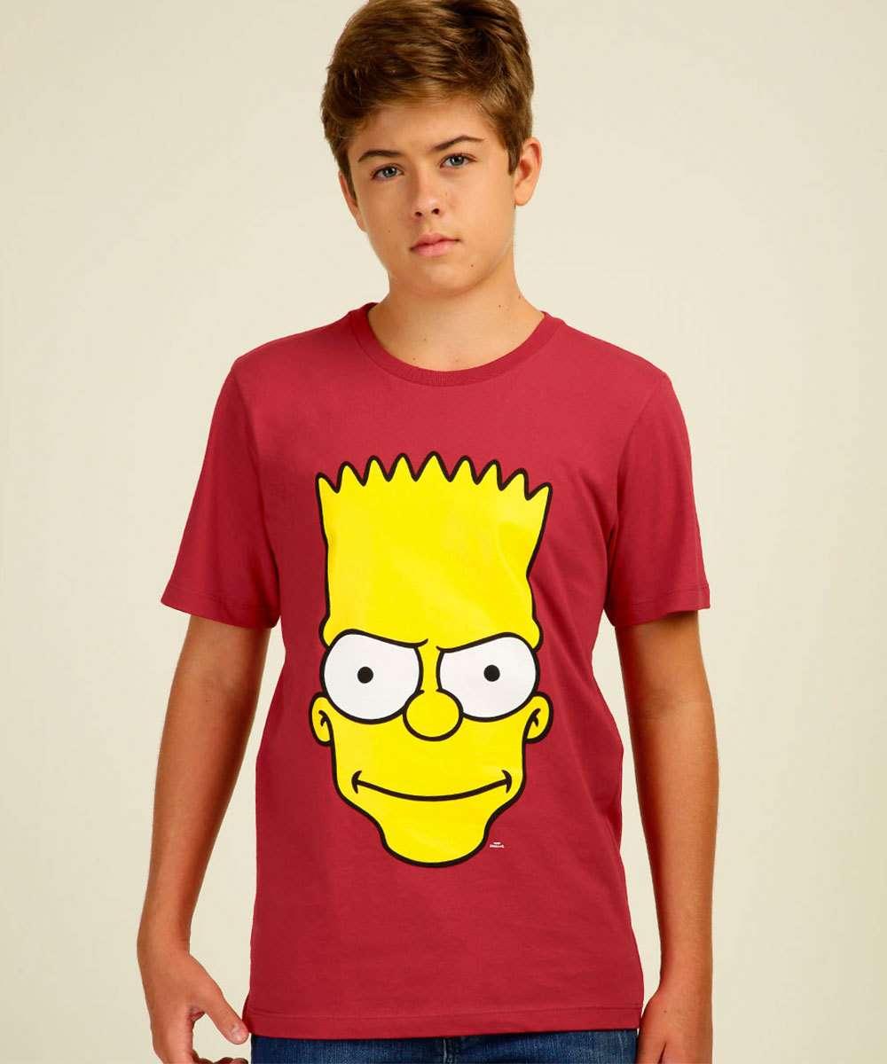Camiseta Juvenil Estampa Bart Simpsons Tam 10 a 16