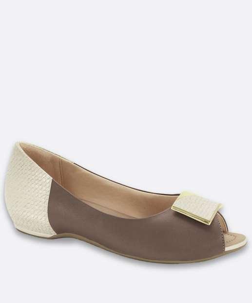 Image_Sapatilha Feminina Peep Toe Bicolor Recorte Comfortflex
