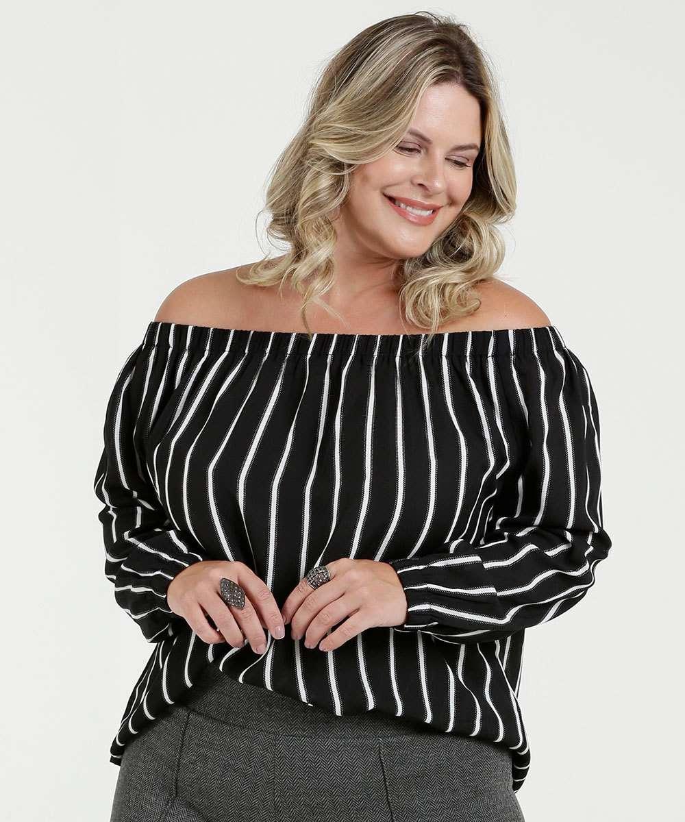 caca2a849 1; 2; 3; 4; 5; 6; 7. Compartilhar. adicionar aos favoritos produto  favoritado. Blusa Feminina Listrada Plus Size Ombro a Ombro Marisa