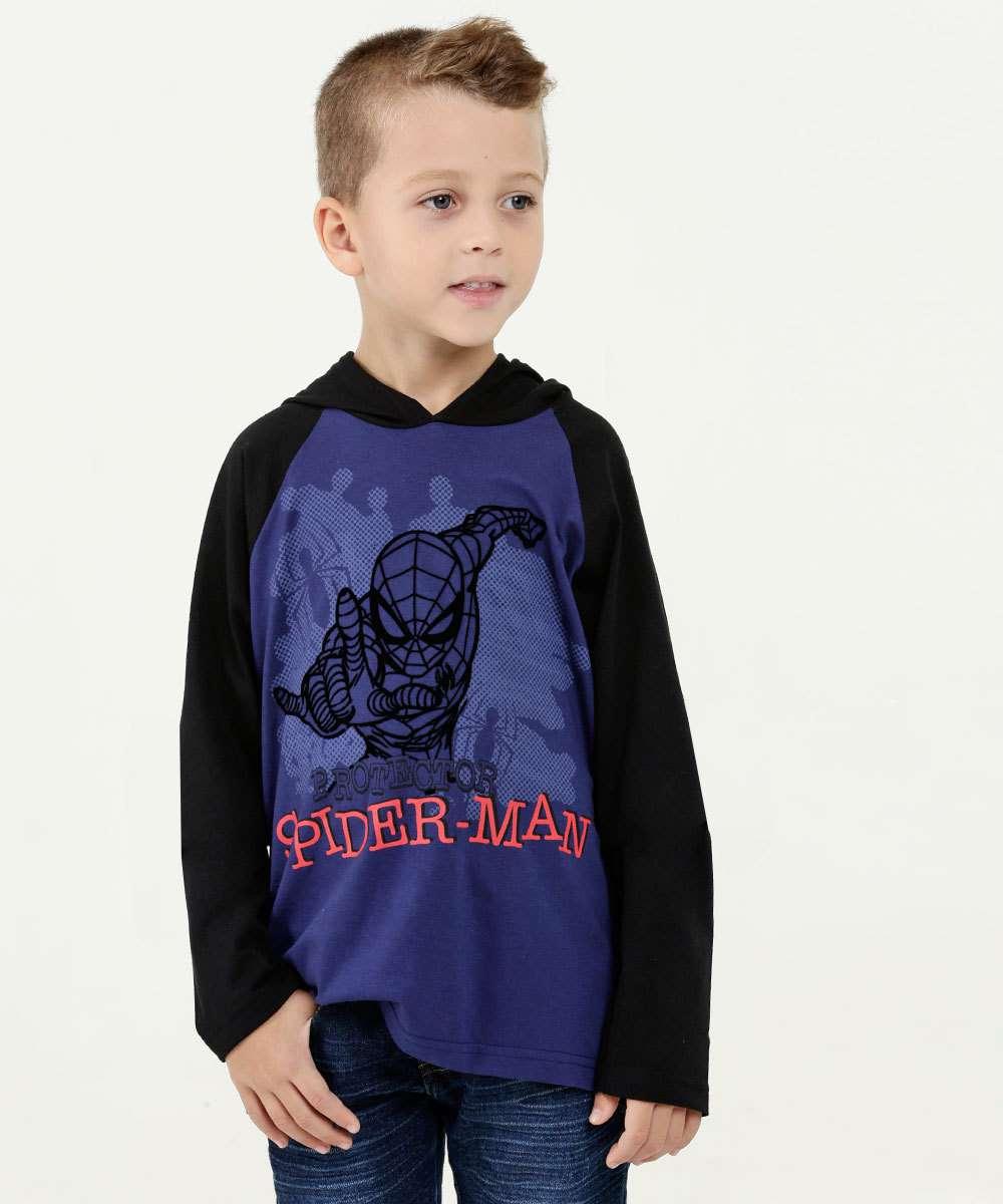 Camiseta Infantil Estampa Homem Aranha Manga Longa Marvel