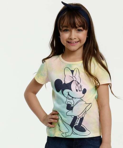 Image_Blusa Infantil Estampa Minnie Tie Dye Brinde Manga Curta Disney