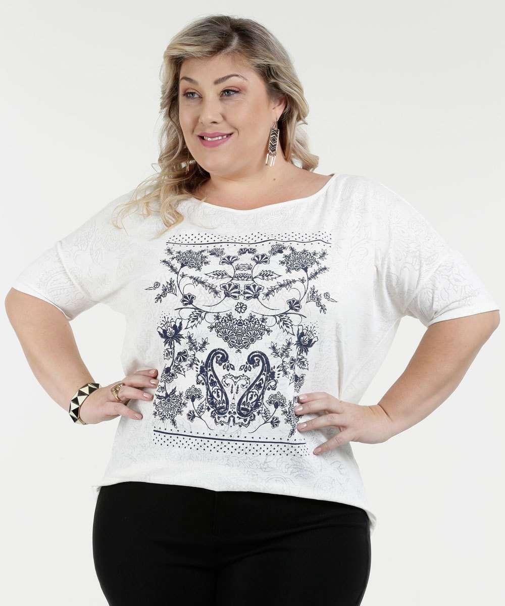 Blusa Feminina Devorê Estampa Floral Plus Size Marisa