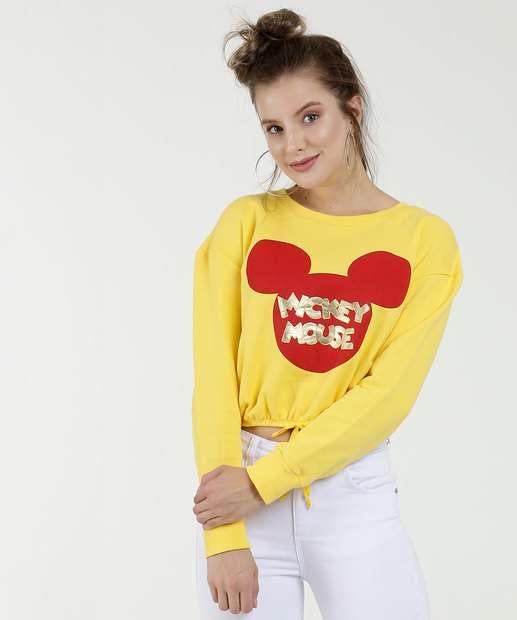 Image_Blusão Feminino Cropped Estampa Mickey Manga Longa Disney