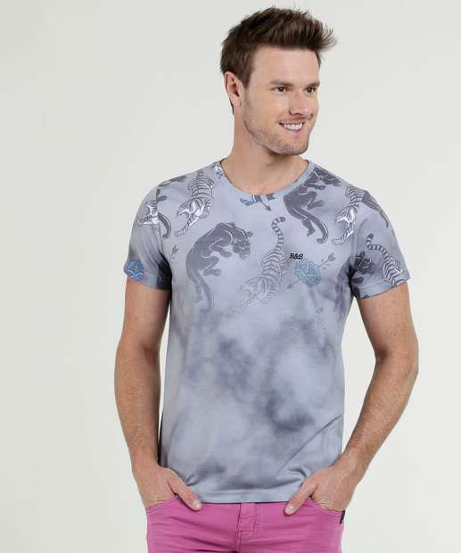 a7662ef0f Camiseta Masculina Estampada Manga Curta Rock   Soda