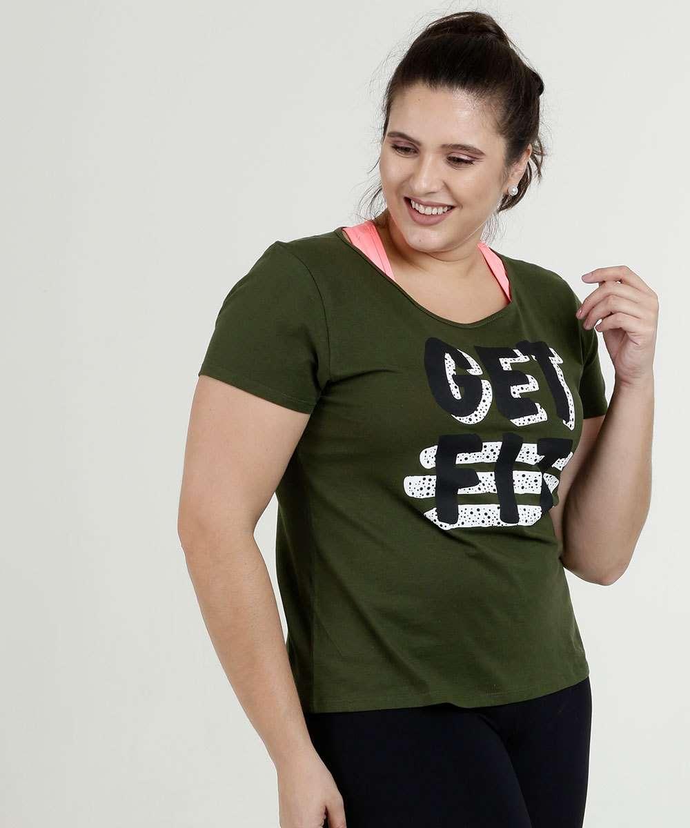 Blusa Feminina Fitness Estampa Frontal Plus Size Marisa