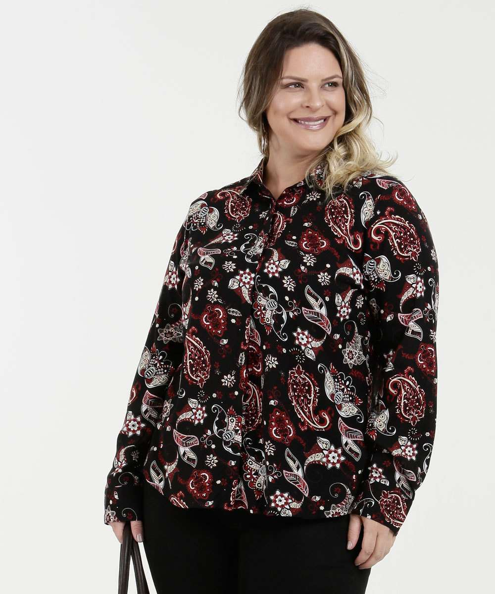 Camisa Feminina High Low Plus Size Manga Longa Marisa