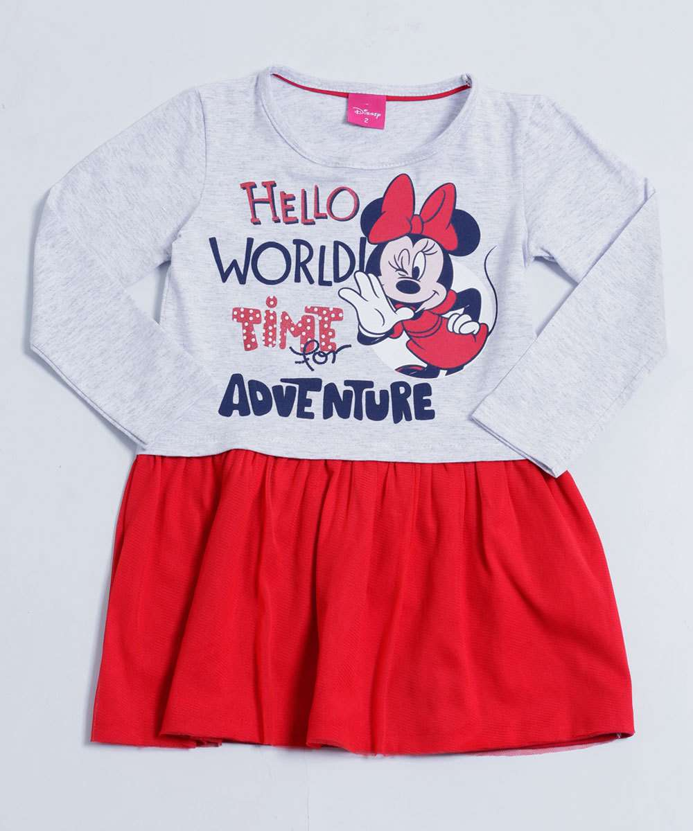 Vestido Infantil Estampa Minnie Tule Disney