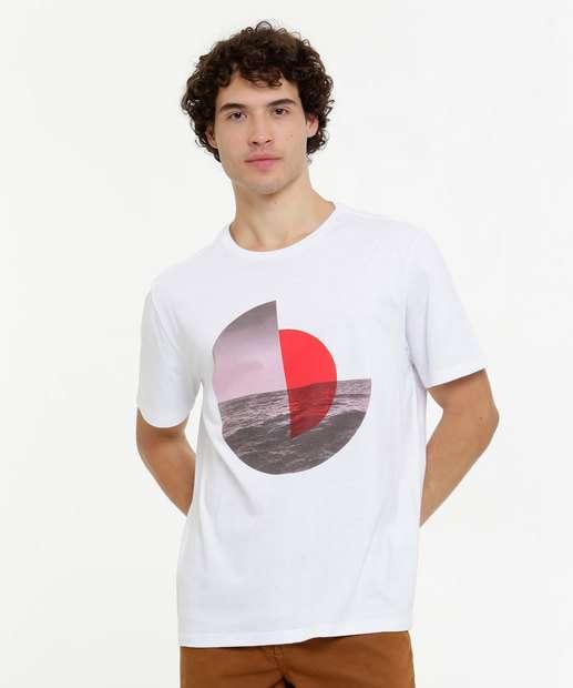 Image_Camiseta Masculina Estampa Geométrica Manga Curta