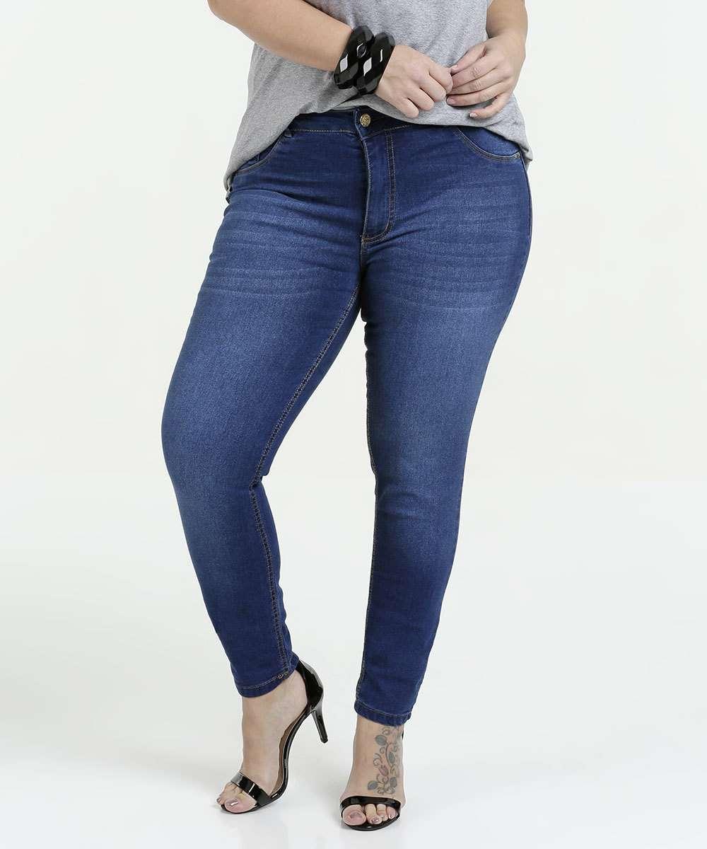 Calça Feminina Plus Size Jeans Skinny Biotipo
