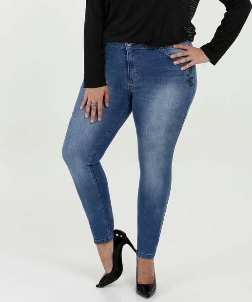 Image_Calça Feminina Jeans Skinny Bordado Plus Size Biotipo