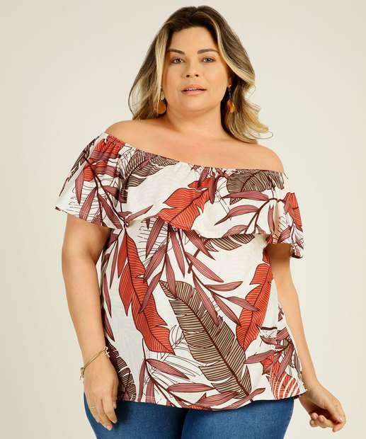 Image_Blusa Plus Size Feminina Ombro a Ombro Folhas Marisa