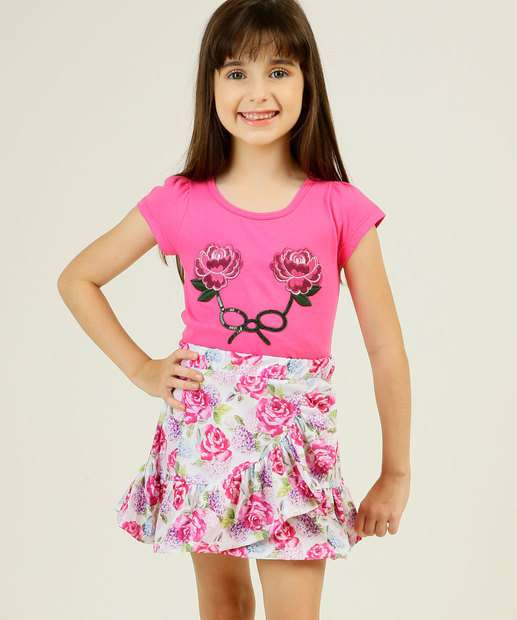 Image_Conjunto Infantil Manga Curta Floral Tam 4 a 10