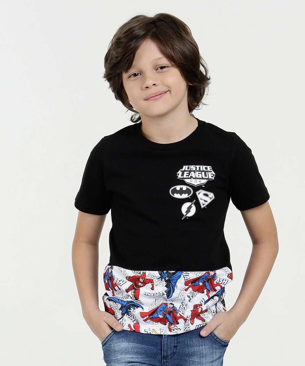 Camiseta Infantil Estampa Heróis Manga Curta Liga da Justiça