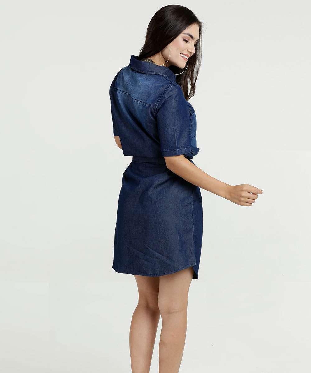 9491a8f53 1; 2; 3; 4; 5; 6; 7; 8. Compartilhar. adicionar aos favoritos produto  favoritado. Vestido Feminino Jeans Chemise Manga Curta Marisa
