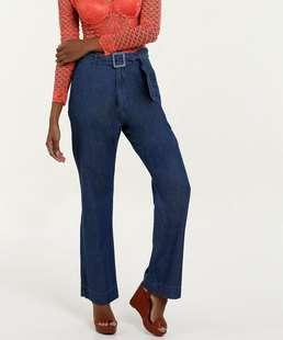 Calça Feminina Jeans Pantalona Cintura Alta Marisa