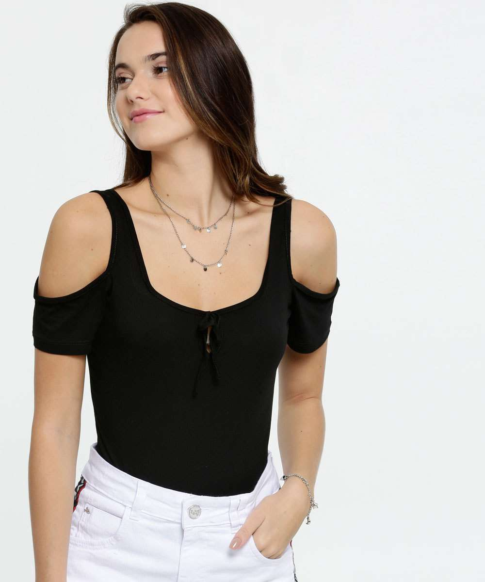 Body Feminino Open Shoulder Manga Curta