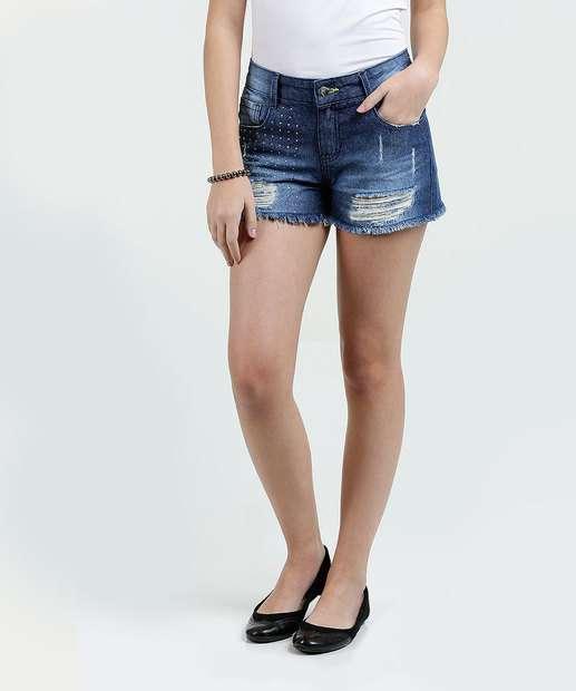 Image_Short Juvenil Jeans Destroyed Strass Marisa