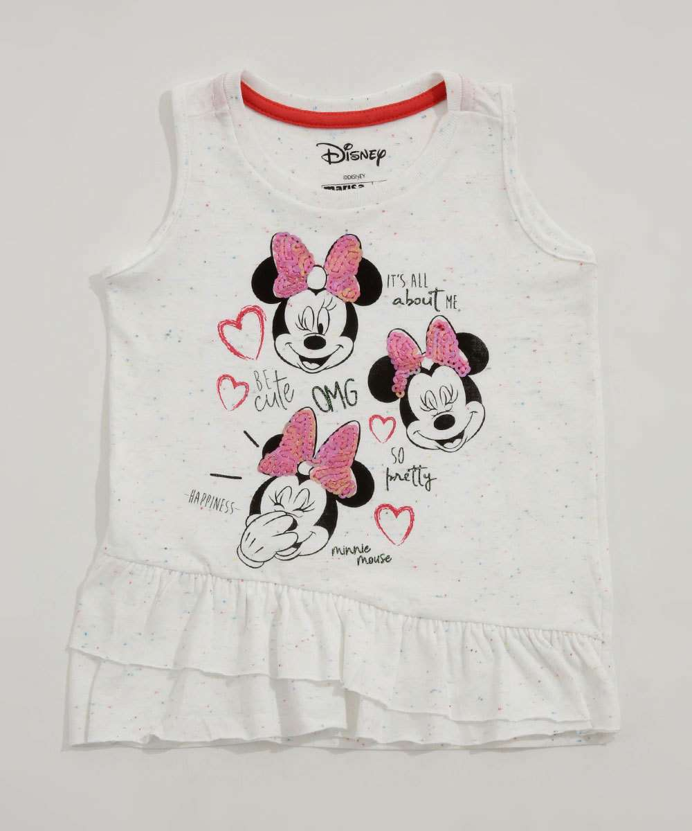 Regata Infantil Estampa Minnie Babado Disney