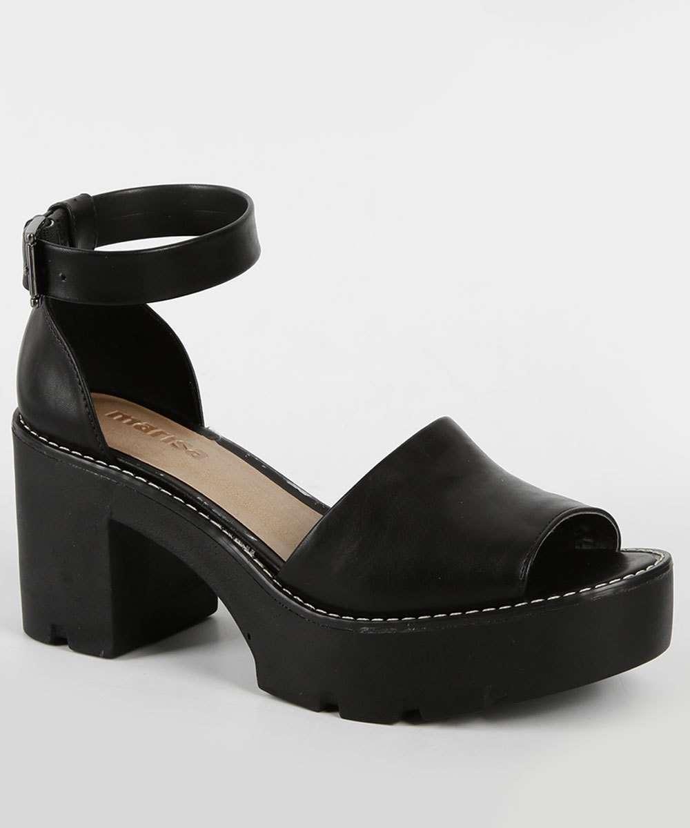 4d69de53b3 Sandália Meia Pata Salto Grosso Week Shoes Bico Fechado Preto ...
