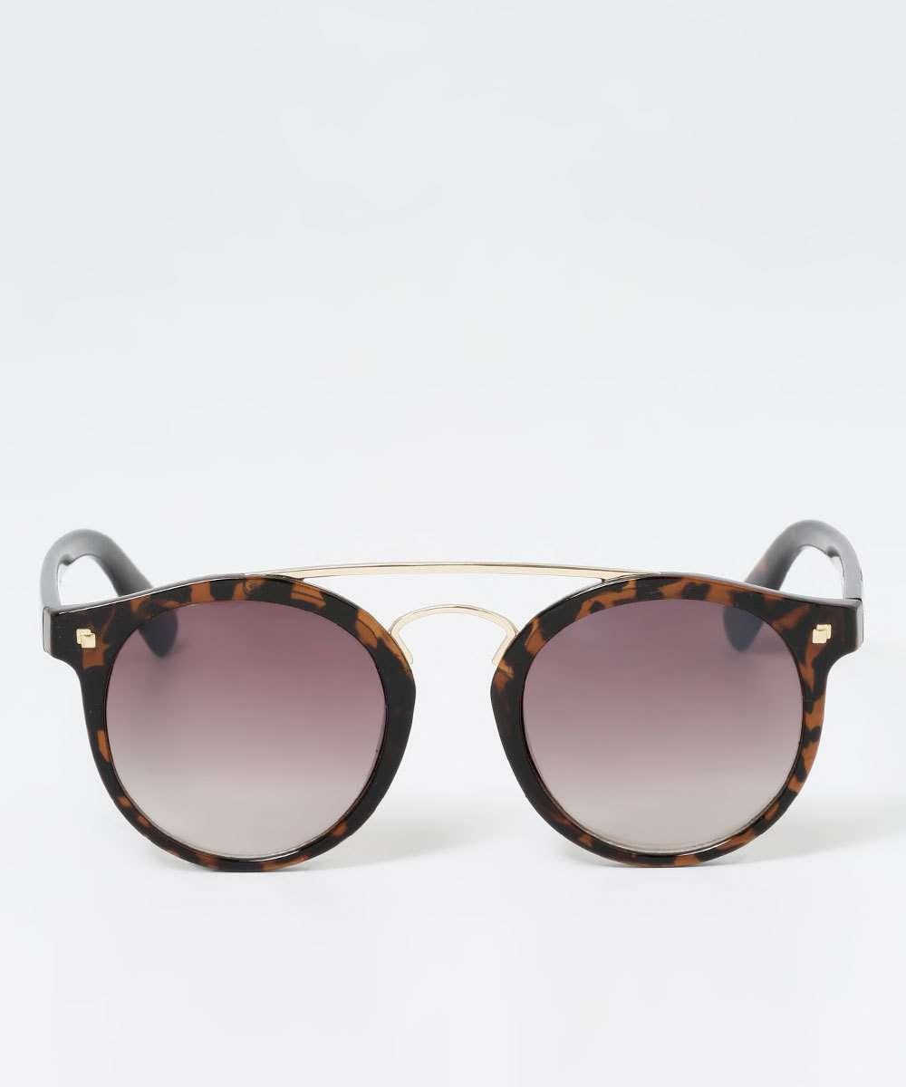 Óculos de Sol Feminino Vintage Estampa Animal Print Marisa