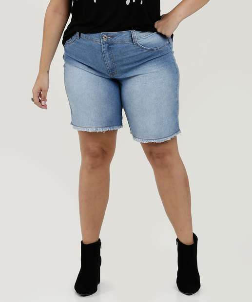 45c71dc8732 Bermuda Feminina Jeans Barra Desfiada Plus Size Biotipo