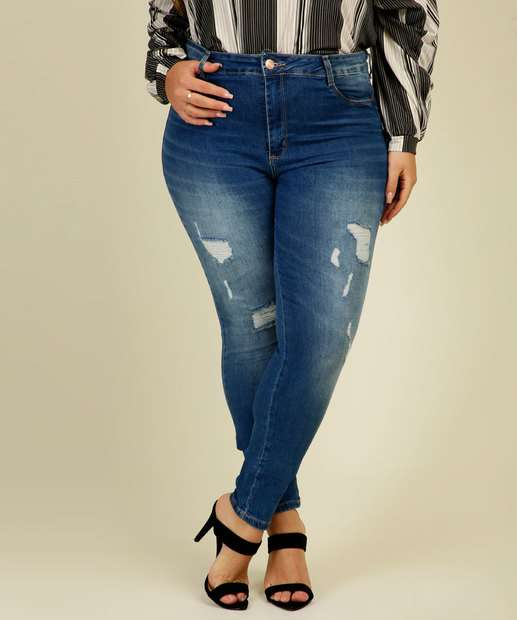 Image_Calça Plus Size Jeans Push Up Cigarrete Feminina Sawary
