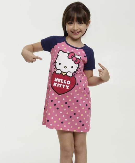 Image_Camisola Infantil Estampa Bolinhas Hello Kitty Sanrio